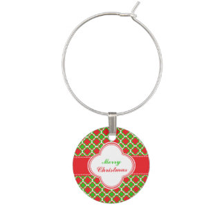 Red and Green Quatrefoil Pattern Christmas Wine Charm