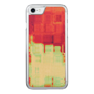Red and Green Ripple Block Abstract Art Carved iPhone 8/7 Case