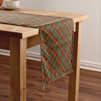Red and Green Rustic Diagonal Plaid Long Table Runner