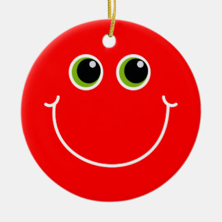 Red and Green Smiley Face Round Ceramic Decoration