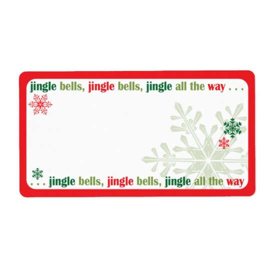 Red and Green Snowflake Holiday Mailing Label