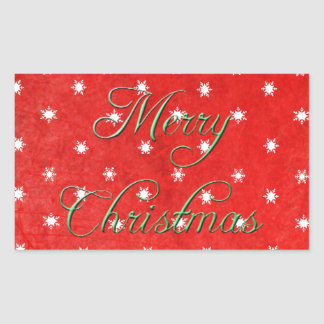 Red and Green Snowflake Merry Christmas Sticker