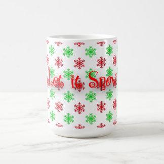 Red and Green Snowflake Pattern Coffee Mug