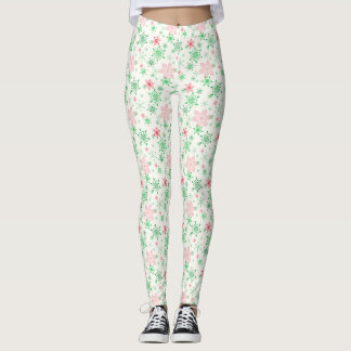 Red and Green Snowflakes Leggings