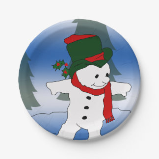 red and green snowman_edited-1 7 inch paper plate