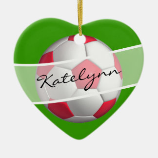 Red and Green Soccer Ball Christmas Tree Ornament
