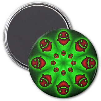 Red and Green Spooky Ghosts round magnet