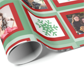Red and Green Squares Personalized Photo Christmas Wrapping Paper