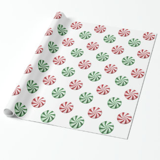 Red and Green Striped Peppermint Candies Gift Wrap