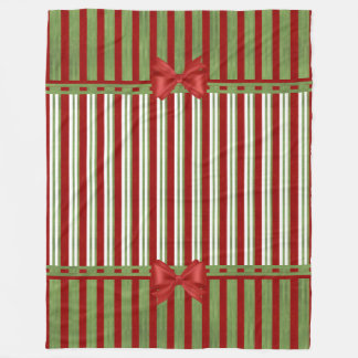Red and Green Stripes Color Block and Bows Fleece Blanket
