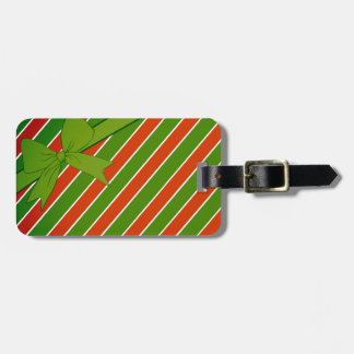 Red and Green Stripes with Bow Bag Tag