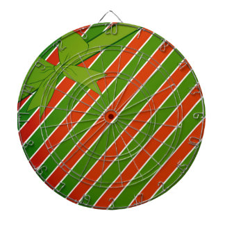 Red and Green Stripes with Bow Dartboards