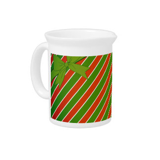 Red and Green Stripes with Bow Pitcher