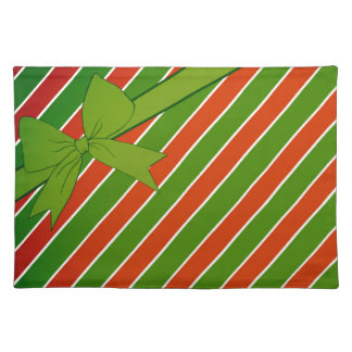Red and Green Stripes with Bow Placemat