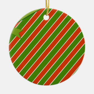 Red and Green Stripes with Bow Round Ceramic Decoration