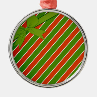 Red and Green Stripes with Bow Silver-Colored Round Decoration
