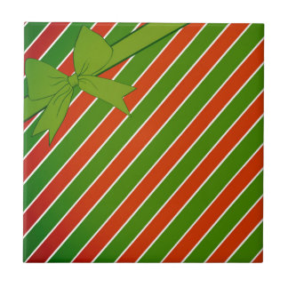 Red and Green Stripes with Bow Small Square Tile