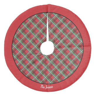 Red and Green Tartan Christmas Plaid Fleece Tree Skirt