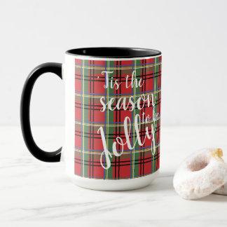 Red and Green Tartan Christmas Plaid Mug