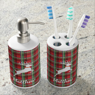 Red and Green Tartan Christmas Plaid Soap Dispenser And Toothbrush Holder