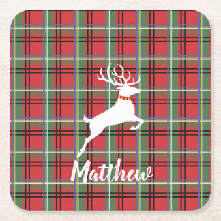 Red and Green Tartan Christmas Plaid Square Paper Coaster