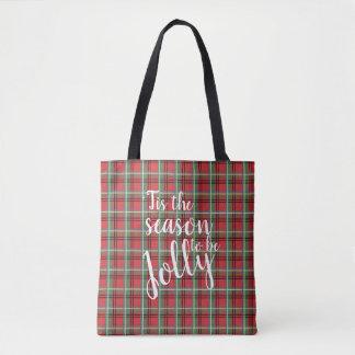 Red and Green Tartan Christmas Plaid Tote Bag