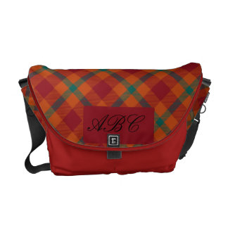 Red and Green Tartan Monogramed Commuter Bags