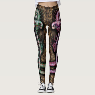 Red and Green Twin Dragons Leggings