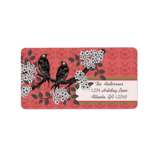 Red and Green Vintage Birds Christmas Labels