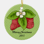 Red and Green Winter Christmas Strawberry Design Christmas Tree Ornaments