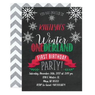 Red and Green Winter ONEderland Birthday Invite