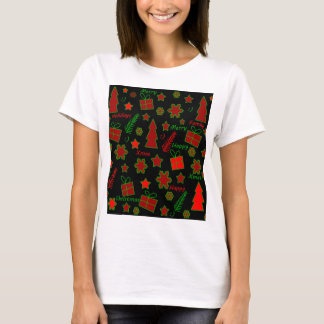 Red and green Xmas pattern T-Shirt