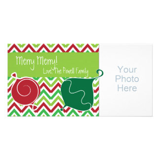 Red and Green Zig Zag Holiday/Christmas Photo Card