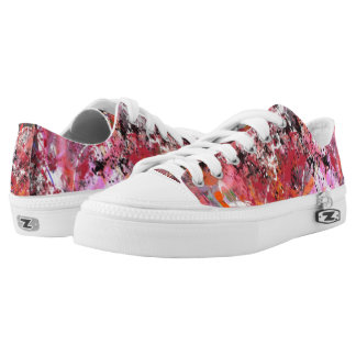 Red and Grey Abstract No.4 Low Tops