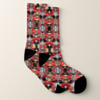 Red and Grey Ikat Socks