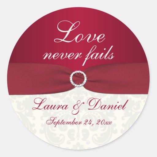 "Red and Ivory Damask 1.5"" Round Wedding Sticker"