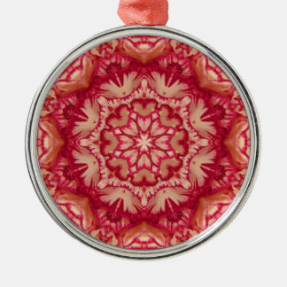 Red and Ivory Peppermint Victorian Floral Christmas Ornaments