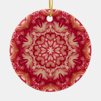 Red and Ivory Peppermint Victorian Floral Round Ceramic Decoration
