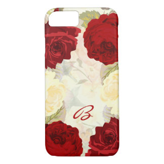 Red and Ivory Rose Monogram iPhone 7 Case