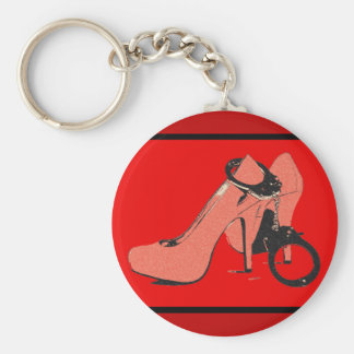 Red and kinky, heels and cuffs, sexy artwork basic round button key ring