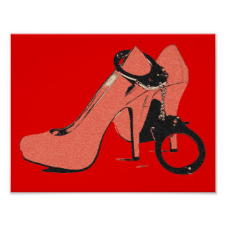 Red and kinky, heels and cuffs, sexy artwork poster