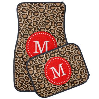 Red and Leopard Print Custom Monogram Floor Mat