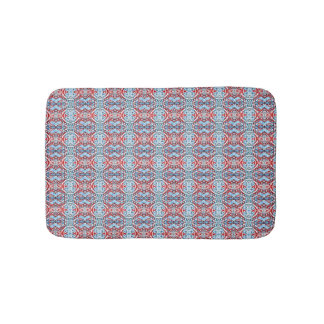 Red and Light Blue Pattern Bath Mats