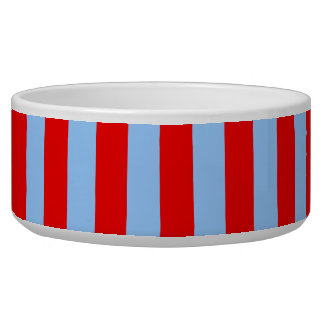 Red and Light Blue Stripes Pet Food Bowl