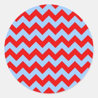 Red and Light Blue Zigzag Round Sticker