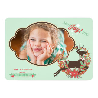 Red and Mint Deer Christmas Holiday Photo Card