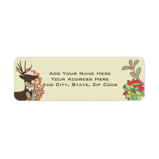 Red and Mint Deer Holiday Address Labels