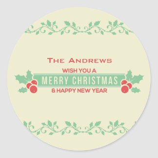 Red and Mint Merry Christmas Customised Stickers