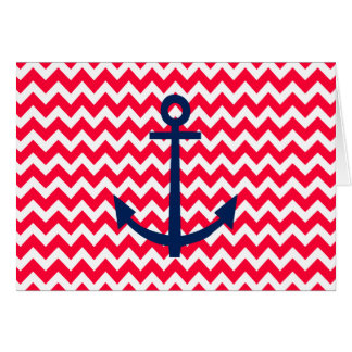Red and Navy Anchor Chevron Nautical Pattern Card