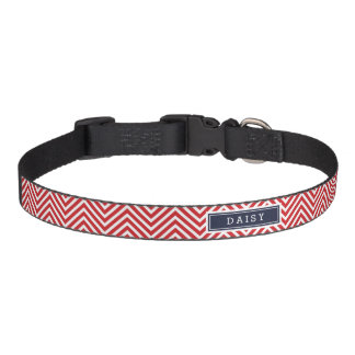 Red and Navy Blue Chevron Monogram Pet Collar